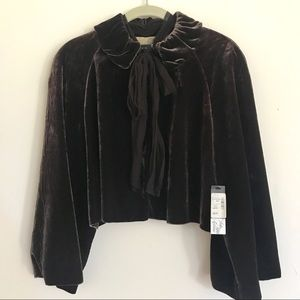 Saks 5th Ave Brown Velvet Cropped Jacket Evening